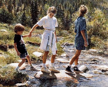 Stepping Stones 1992 Limited Edition Print by Steve Hanks