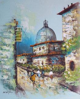 Untitled Village 19x15 Original Painting - Gaylen Hansen