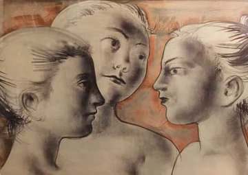 Untitled (Three Young Females) 1950 Limited Edition Print - Hans Erni