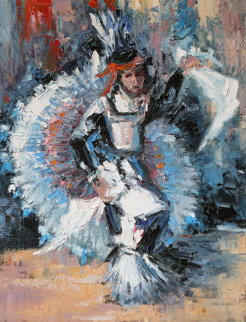 Ceremonial Dancer 25x21 Original Painting - Hans Ressdorf