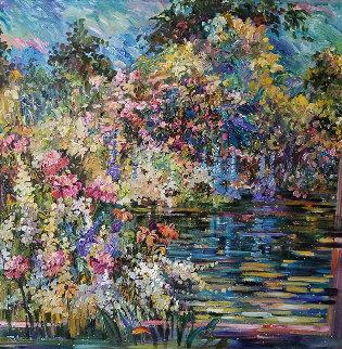 Kaleidoscope Garden 2009 56x56 Original Painting - Rebecca Hardin
