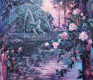 Sunset Reflections 1994 33x40 Original Painting by Rebecca Hardin