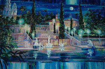 Starry Night at San Simeon California 1998 ( Hearst Castle) Limited Edition Print by Rebecca Hardin