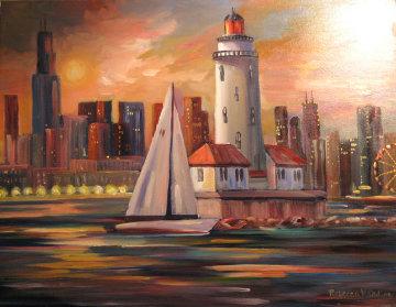 Lakefront Lighthouse Chicago 2008 22x28 Original Painting - Rebecca Hardin
