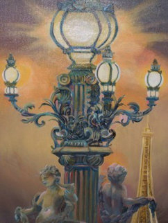 Paris, City of Lights 2010 28x22 Original Painting - Rebecca Hardin