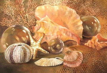 Shells and Net Floats II 2012 28x33 Original Painting - Rebecca Hardin