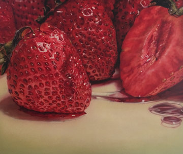Strawberries 1979 55x64 Super Huge Original Painting - Ray Hare