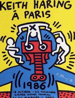 Paris Screenprint 1986 HS Limited Edition Print - Keith Haring