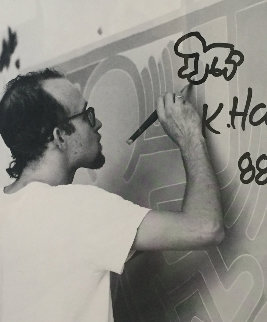 Lithograph and Baby Remarque With Original Drawing 1988 Limited Edition Print by Keith Haring