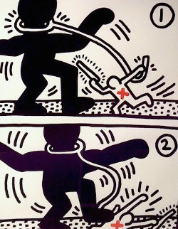 Free South Africa,  Set of 3 Lithographs 1985 Limited Edition Print by Keith Haring