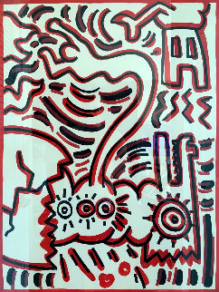 Cat 1984 38x32 Original Painting - Keith Haring
