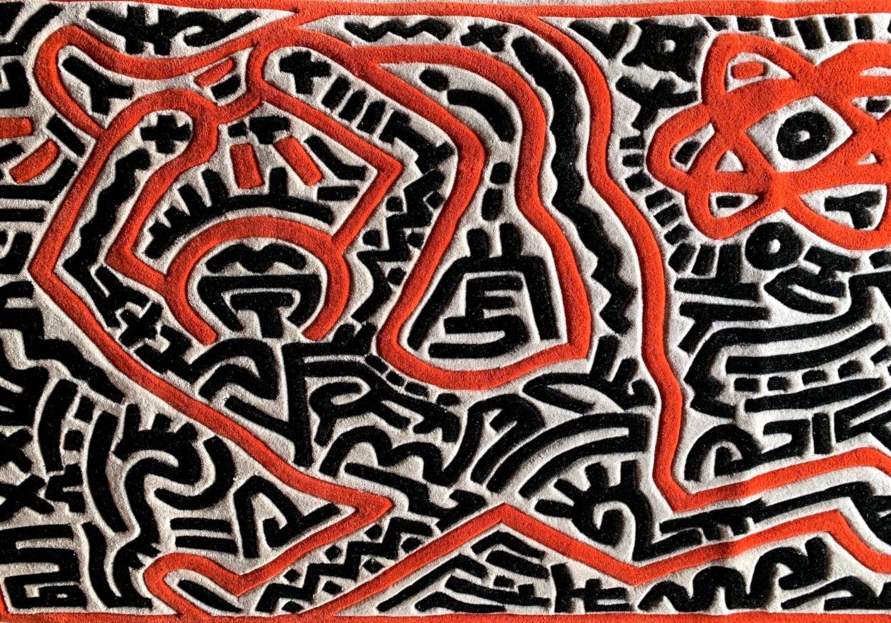 Running Man and Galaxy Art Tapestry 1985 39x59 HS Tapestry by Keith Haring