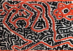 Running Man and Galaxy Art Tapestry 1985 39x59 HS Tapestry - Keith Haring