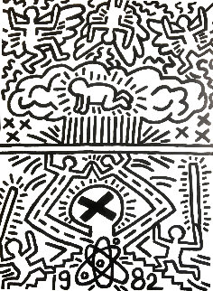 Poster For Nuclear Disarmament Poster 1982 Hand Signed - Signed Twice Limited Edition Print - Keith Haring