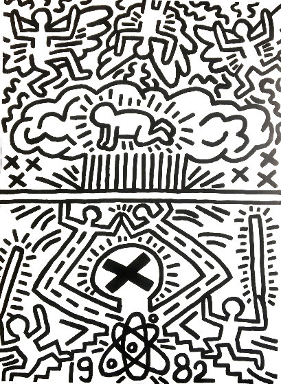 Poster For Nuclear Disarmament 1982 Signed Twice Limited Edition Print by Keith Haring