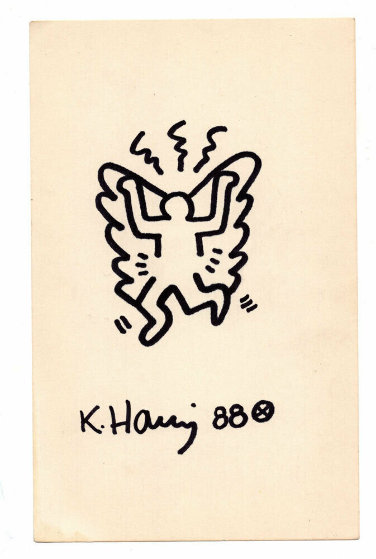 Untitled (Angel) Drawing 1988 8x5 by Keith Haring
