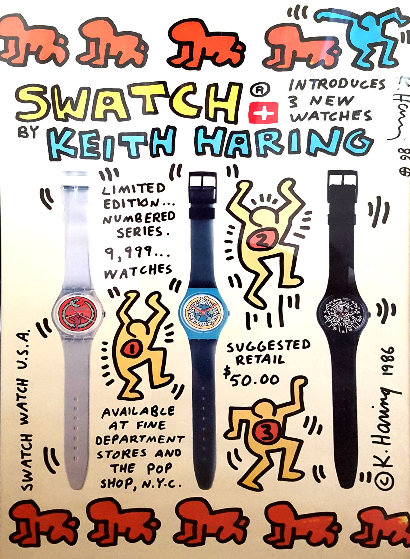 1986 Swatch Watch USA Promotion Poster HS by Keith Haring