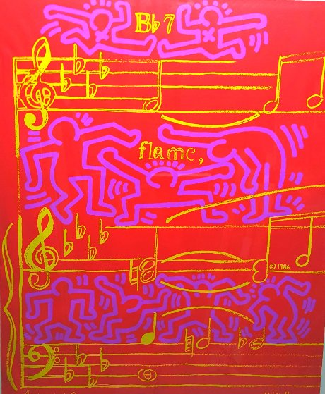 20th Montreux Jazz Festival Poster, HS By Haring and Warhol 1986 Limited Edition Print by Keith Haring