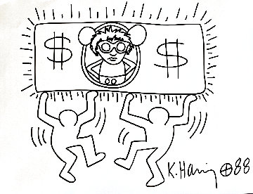 Untitled Drawing 1988 11x15 Drawing - Keith Haring