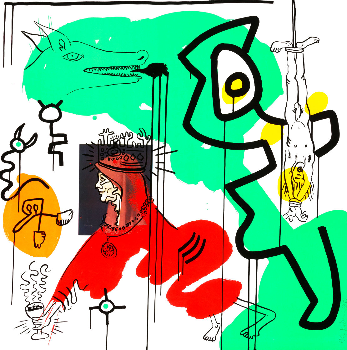 Apocalypse 9 From the Apocalypse Series 1988 HS Limited Edition Print by Keith Haring