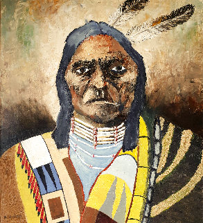 Untitled Native American 18x35 By Uk Artist Original Painting - Kenneth Harkis