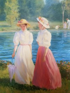 Blue Summer 1987 40x34 Super Huge Original Painting - Gregory Frank Harris