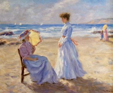 Beach Scene 1984 26x30 Original Painting by Gregory Frank Harris