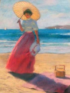 Parasol on the Beach  Pastel 1987 29x23 Works on Paper (not prints) - Gregory Frank Harris