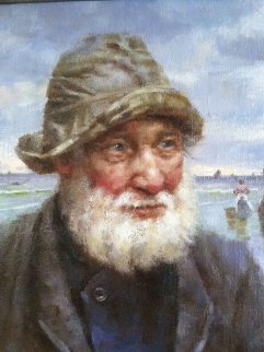 St. Ives Fisherman 2009 Original Painting by Gregory Frank Harris