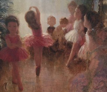 Ballerinas 1957 27x31 Original Painting by Harry Myers