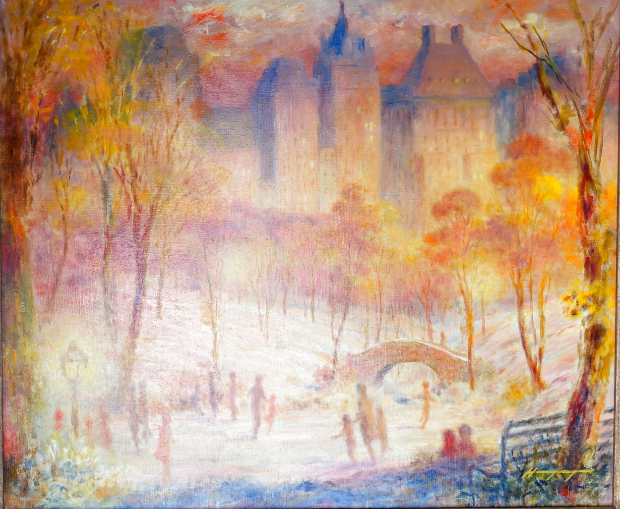 Late Afternoon, Central Park 1980 28x32 Original Painting by Harry Myers