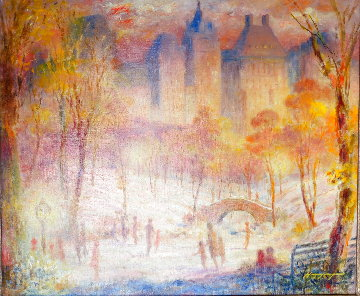 Late Afternoon, Central Park 1980 28x32 Original Painting - Harry Myers