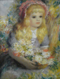 Pretty Blonde Girl with Basket 16x12 Original Painting by Harry Myers