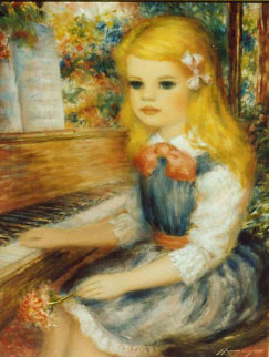 Blonde Girl and Piano '80's 12x16 Original Painting - Harry Myers