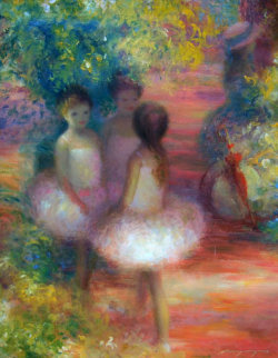3 Young Ballerinas 16x12 Original Painting - Harry Myers