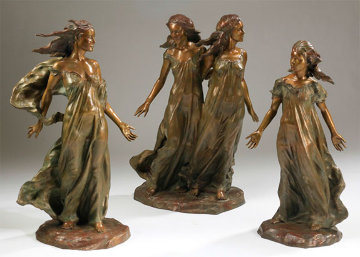 Daughters of Odessa Trilogy 3/4 Life, 1997 Set of 3 Bronze Sculptures 48 in high Sculpture - Frederick Hart