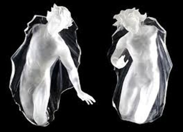 Sacred Mysteries:  Female And Male, Set of 2 Acrylic Sculptures 1983 48 in Sculpture by Frederick Hart