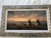 Untitled Western Painting 1982 15x30 Original Painting by Heinie Hartwig - 2