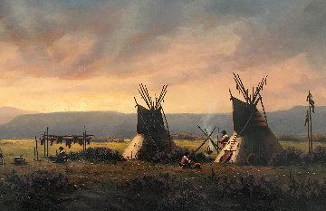 Untitled Western Painting 1982 15x30 Original Painting - Heinie Hartwig