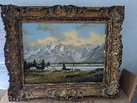 Wyoming Village 1984 26x32 Original Painting by Heinie Hartwig - 2