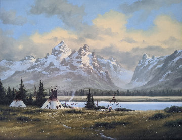 Wyoming Village 1984 26x32 Original Painting - Heinie Hartwig