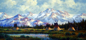 Untitled Mountainscape 19x31 Original Painting - Heinie Hartwig