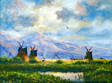 Untitled Landscape with Teepees and Mountain Backdrop 17x20 Original Painting - Heinie Hartwig