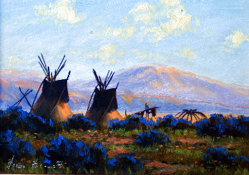 Untitled Landscape with Teepees and Mountain Backdrop 11x13 Original Painting - Heinie Hartwig