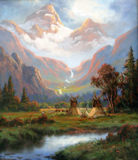 Spring Snow Runoff 2008 27x23 Original Painting by Heinie Hartwig