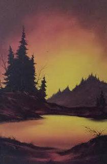 Untitled Landscape 1972 37x25 Original Painting - Heinie Hartwig