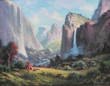 Bridal Vail Falls - Yosemite National Park 2015 53x43 Original Painting by Heinie Hartwig