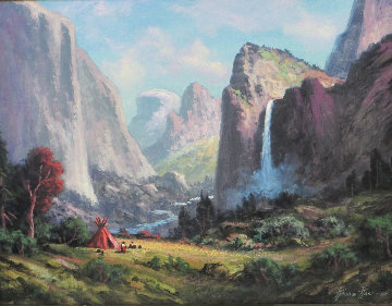 Bridal Vail Falls - Yosemite National Park 2015 53x43 Original Painting by Heinie Hartwig