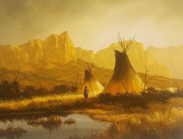 Untitled Western Landscape 30x24 Original Painting - Heinie Hartwig