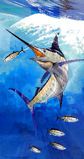 Blue Marlin And Skipjack Watercolor 2000 30x20 Watercolor - Guy Harvey